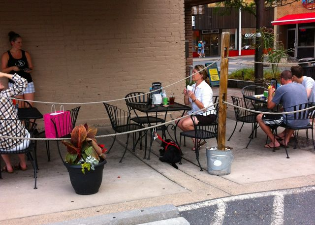 Lily Dines Al Fresco at Jack Brown's Beer and Burger Joint